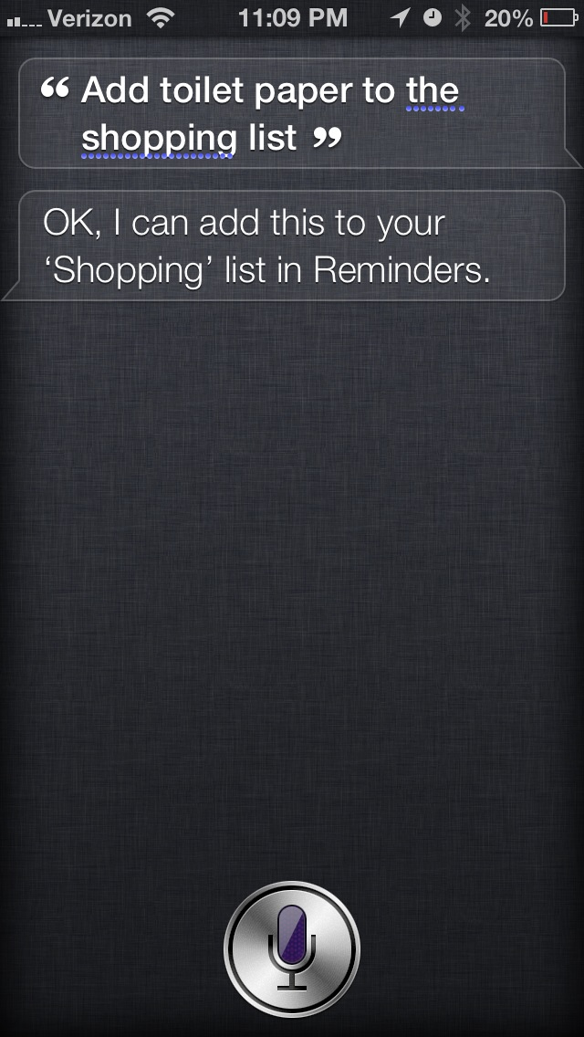 Screenshot of Siri