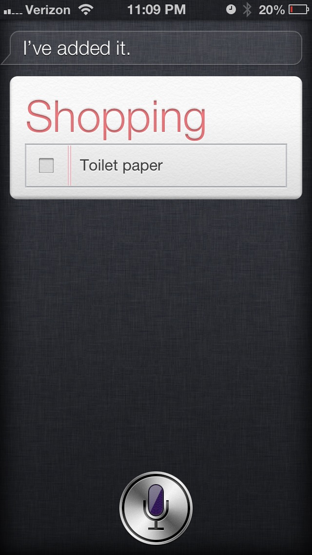 Screenshot of item added to shopping list.