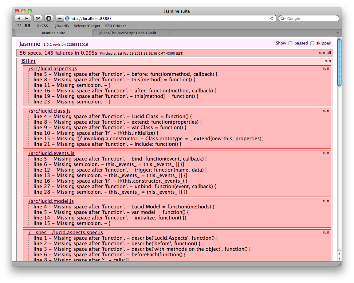 Screenshot of jshint output