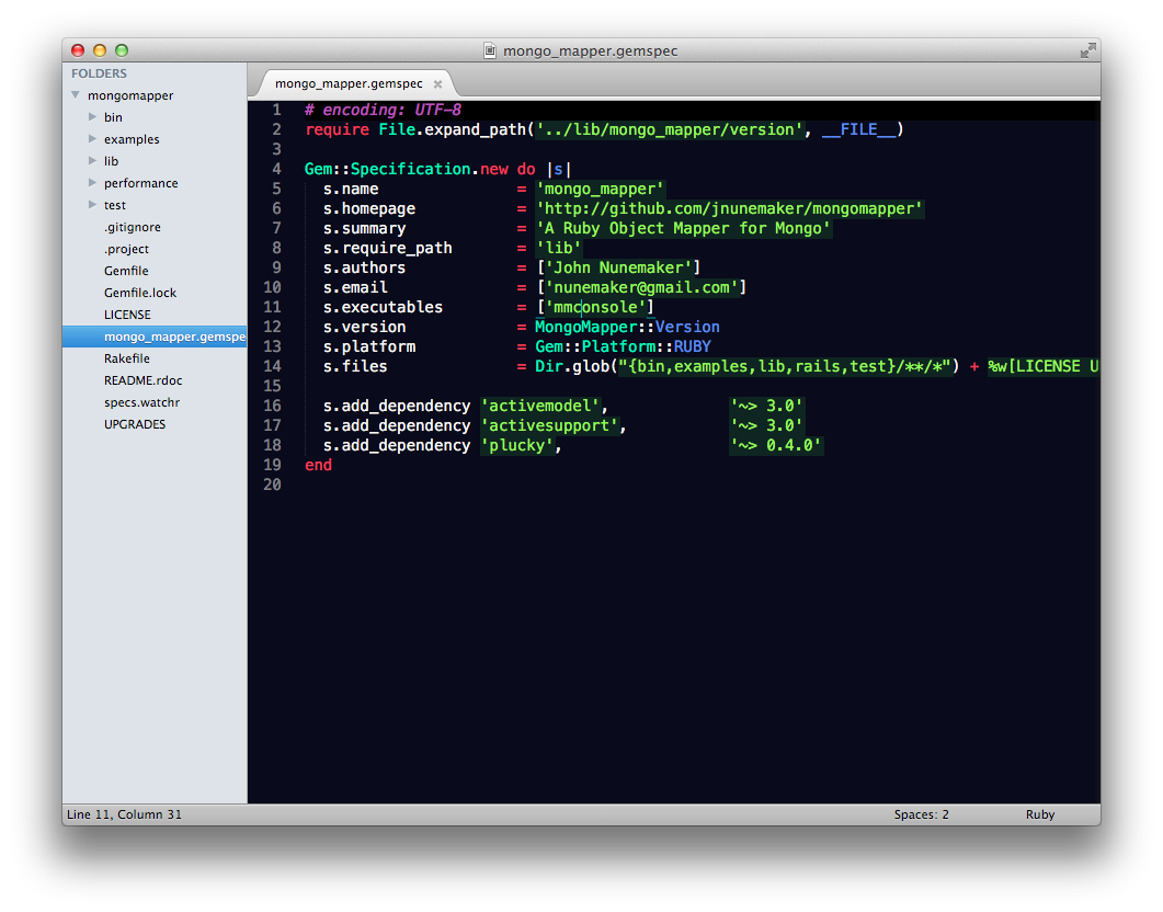 Screenshot of Sublime Text with Soda theme